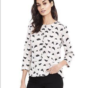 Banana Republic 3/4 sleeve printed peplum blouse